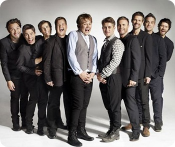 Undated Comic Relief handout photo of comics (from the left) David Walliams, John Bishop, Catherine Tate, James Corden and Alan Carr alongside the real Take That as they audition for spoof group Fake That for a Comic Relief sketch to be screened tonight. PRESS ASSOCIATION Photo. Issue date: Friday March 18, 2011. BBC1 viewers will see the comedians take the stage at a Take That tribute band audition - with the real Take That sitting behind the judges'ƒŸ table. See PA story SHOWBIZ Relief TakeThat. Photo credit should read: Comic Relief/PA Wire<br /> NOTE TO EDITORS: This handout photo may only be used in for editorial reporting purposes for the contemporaneous illustration of events, things or the people in the image or facts mentioned in the caption. Reuse of the picture may require further permission from the copyright holder.